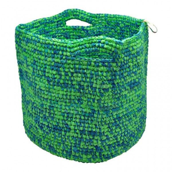 Kiri - grote was- of speelgoedmand gerecycled plastic - mix blauw/groen - Baskets, vases & plates - Living eco & fair design