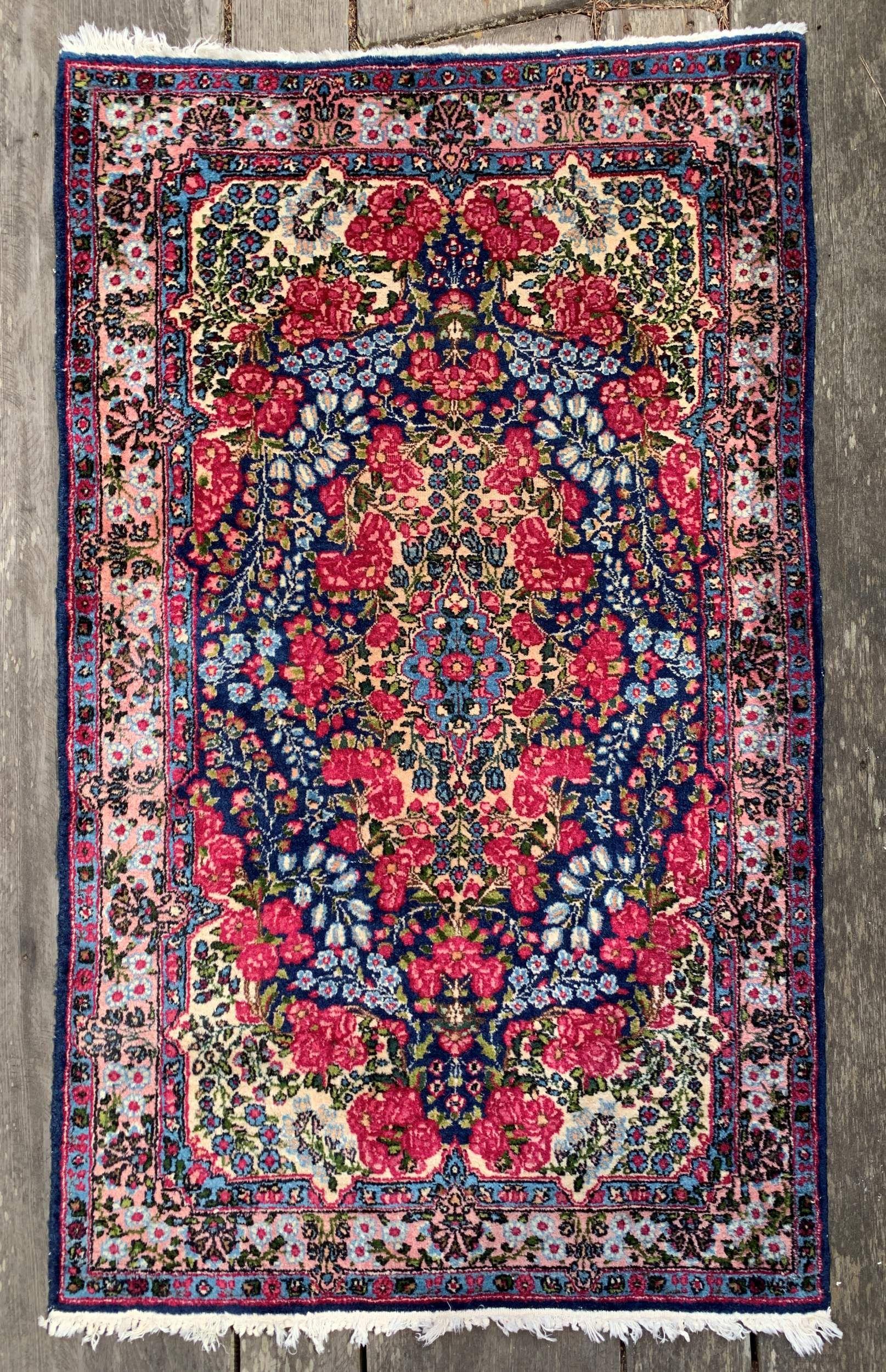 Vintage Persian Kerman Rug 3x5 Spring Flower Power Kerman Rugs