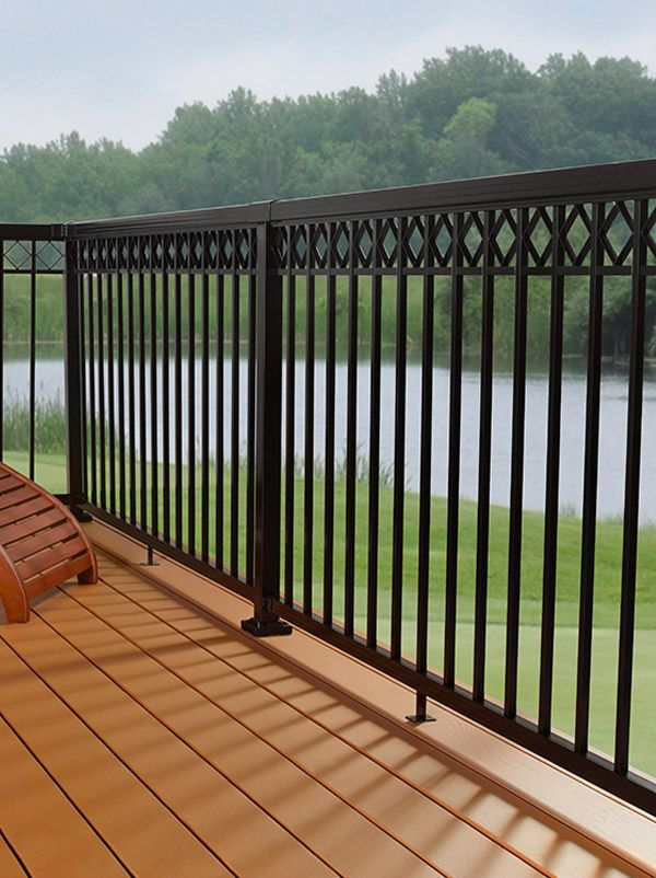 Diy Aluminum Railing System Narrow Pickets With Decorative Spacers And Black Rails Porch Railing Designs Balcony Railing Design Railings Outdoor