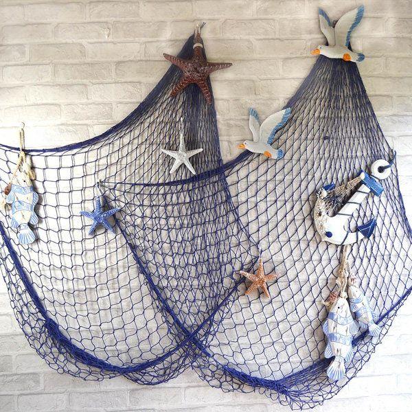 Mediterranean Style Decorative Fish Net With Shells Blue White At Banggood Fish Net Decor Hanging Wall Decor Nautical Decor