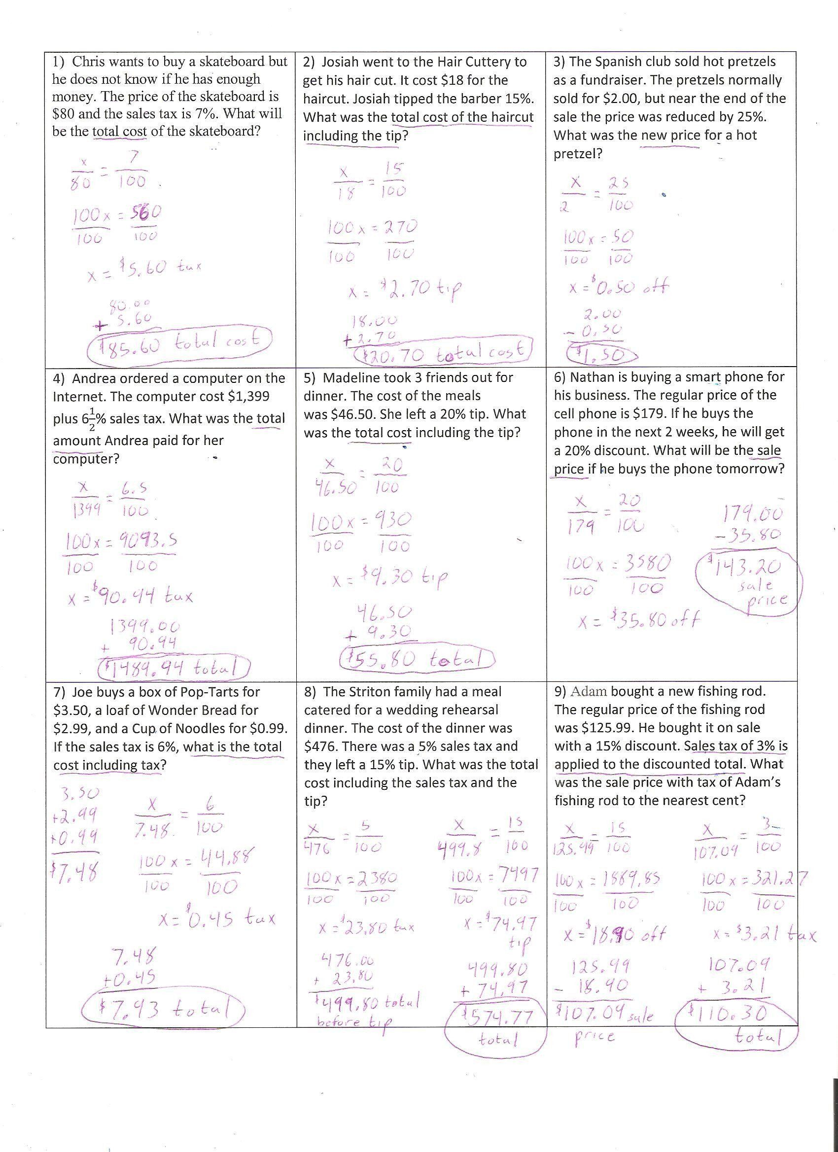 Sales Tax Worksheet 7th Grade Pin On Examples Grade Stu S