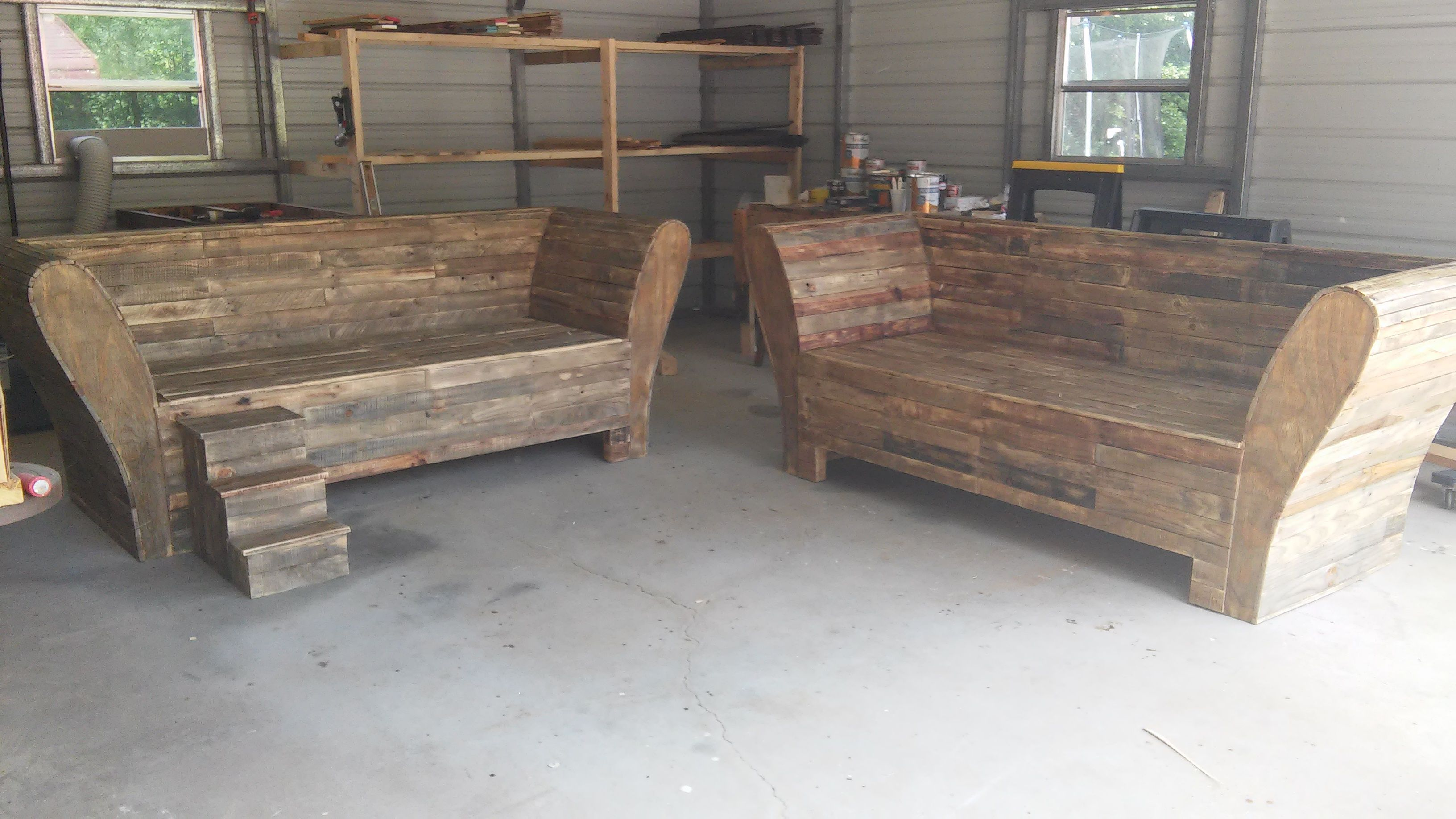 Exceptional Custom Benches Part - 9: Custom Benches Built For A Customer In Atlanta, GA. Built From Recycled  Wood And