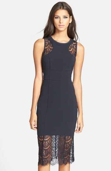 Jarlo 'Isabelle' Lace Insert Midi Dress