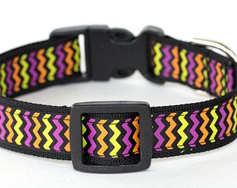 Halloween Dog Collar - 3/4 inch width - Adjustable - Pattern: Halloween Chevron Stripes