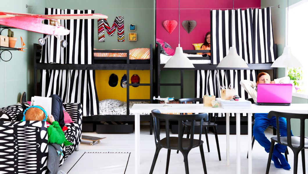 A Kids Bedroom With Four Personalised Bunkbeds