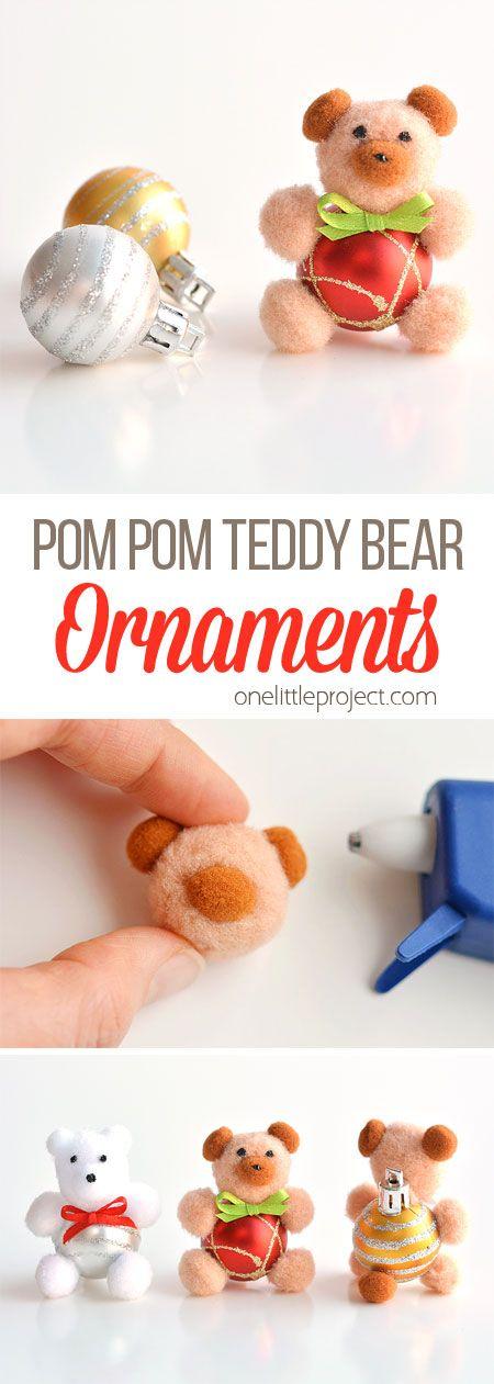 DIY Pom Pom Teddy Bear Ornaments | Teddy Bear Christmas Ornaments