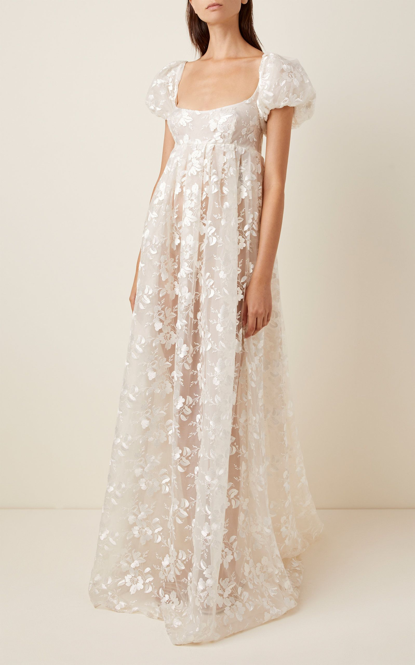 Brock Collection Embroidered Appliqued Organza Maxi Dress In 2020 Online Wedding Dress Buy Wedding Dress Online Buy Wedding Dress
