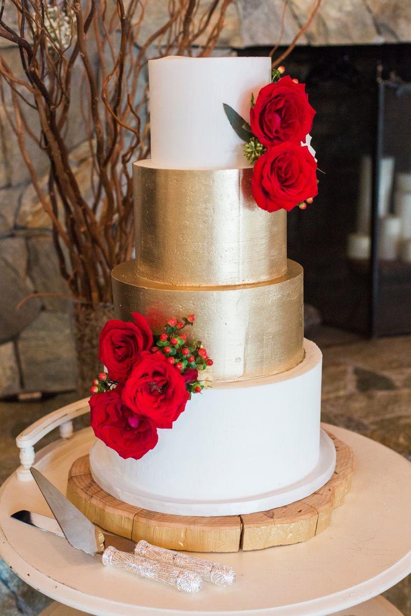 Rustic Elegant Red and Gold Wedding | Gold weddings, Wedding cake ...