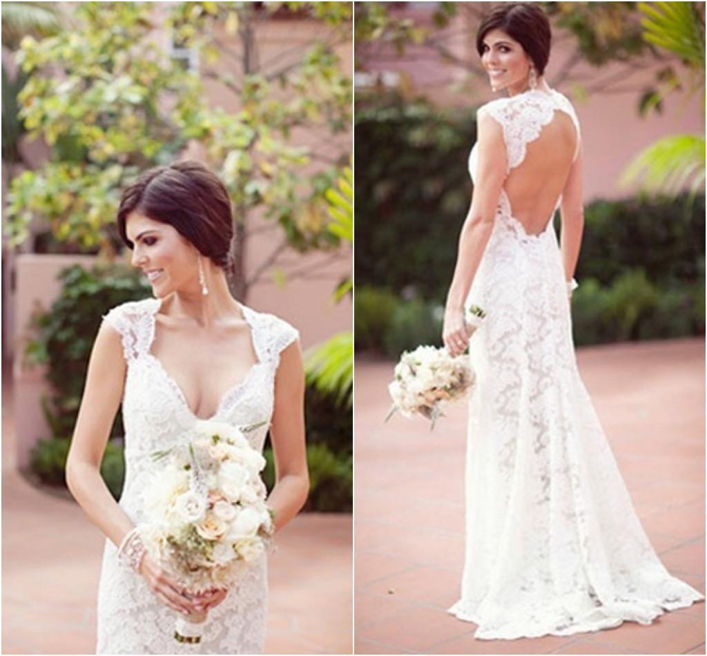 keyhole Back Wedding Dress Cap Sleeve with V Neck Sheath