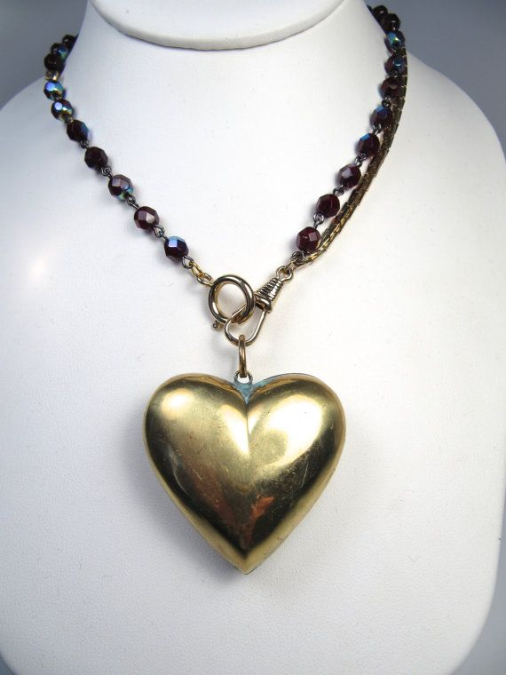 Handmade Vintage Brass Puff Heart Puffy Pendant by WickedCrafts, $40.00