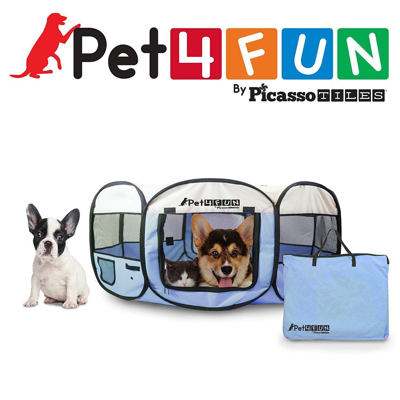 Pet4funa Pn935 35 Portable Pet Puppy Dog Cat Animal Playpen Yard Crates Kennel W Premium 600d Oxford Cloth Tool Free Setup Carry Bag Removable Dog Playpen