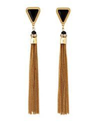 faceted stone & chain tassel statement earrings