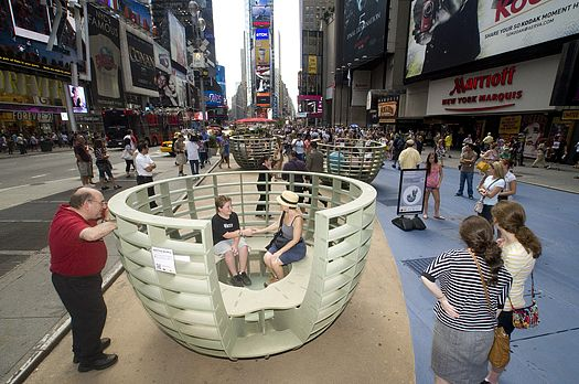 Meeting Bowls Nyc Street Furniture For Spontaneous Dialog Pics Psfk Nyc Times Square Street Furniture Nyc