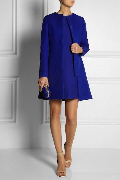 Classic Royal Blue Coat and Dress Set fashion blue dress winter ...