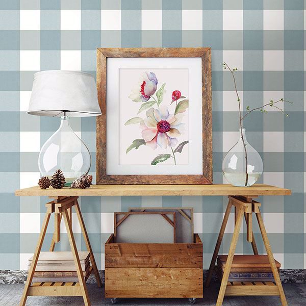 amos teal gingham wallpaper in 2020 plaid wallpaper on home depot paint sales this week id=89035