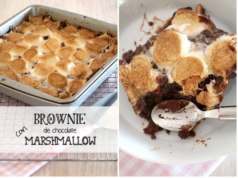 Brownie de chocolate con marshmallow (sin gluten)