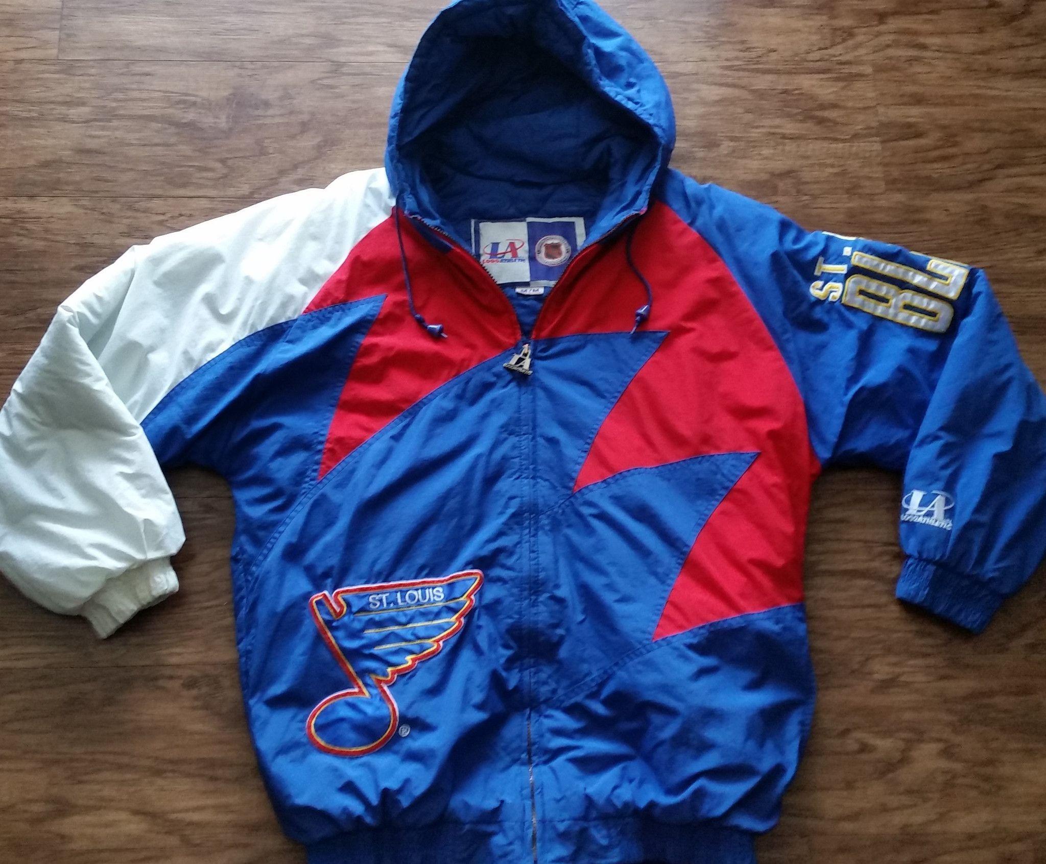 St Louis Blues Logo Athletic Sharktooth Jacket Vintage Nhl Hockey Coat Parka Mens Medium Herren Mode Mode Herrin