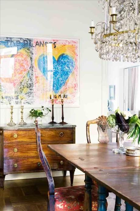Gustavian chest / Jim Dine artwork. I love the rustic with some bling <3