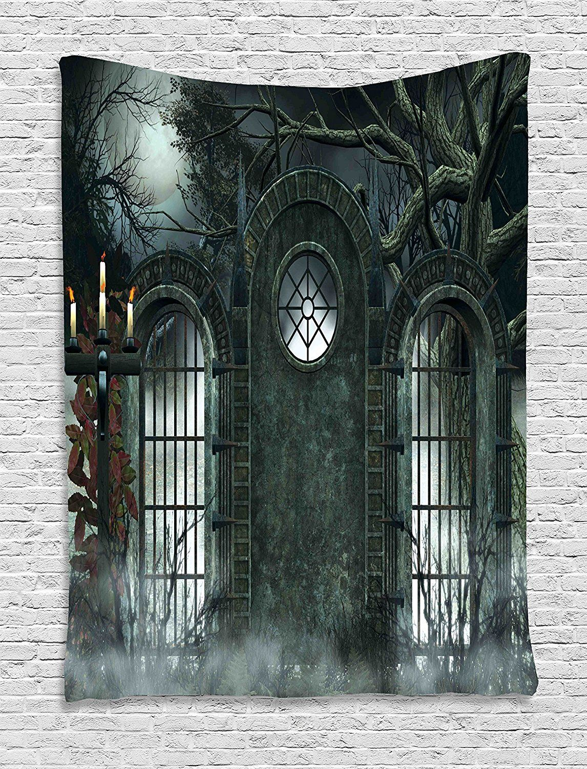 Horror House Decor Tapestry by Ambesonne, Moon Halloween