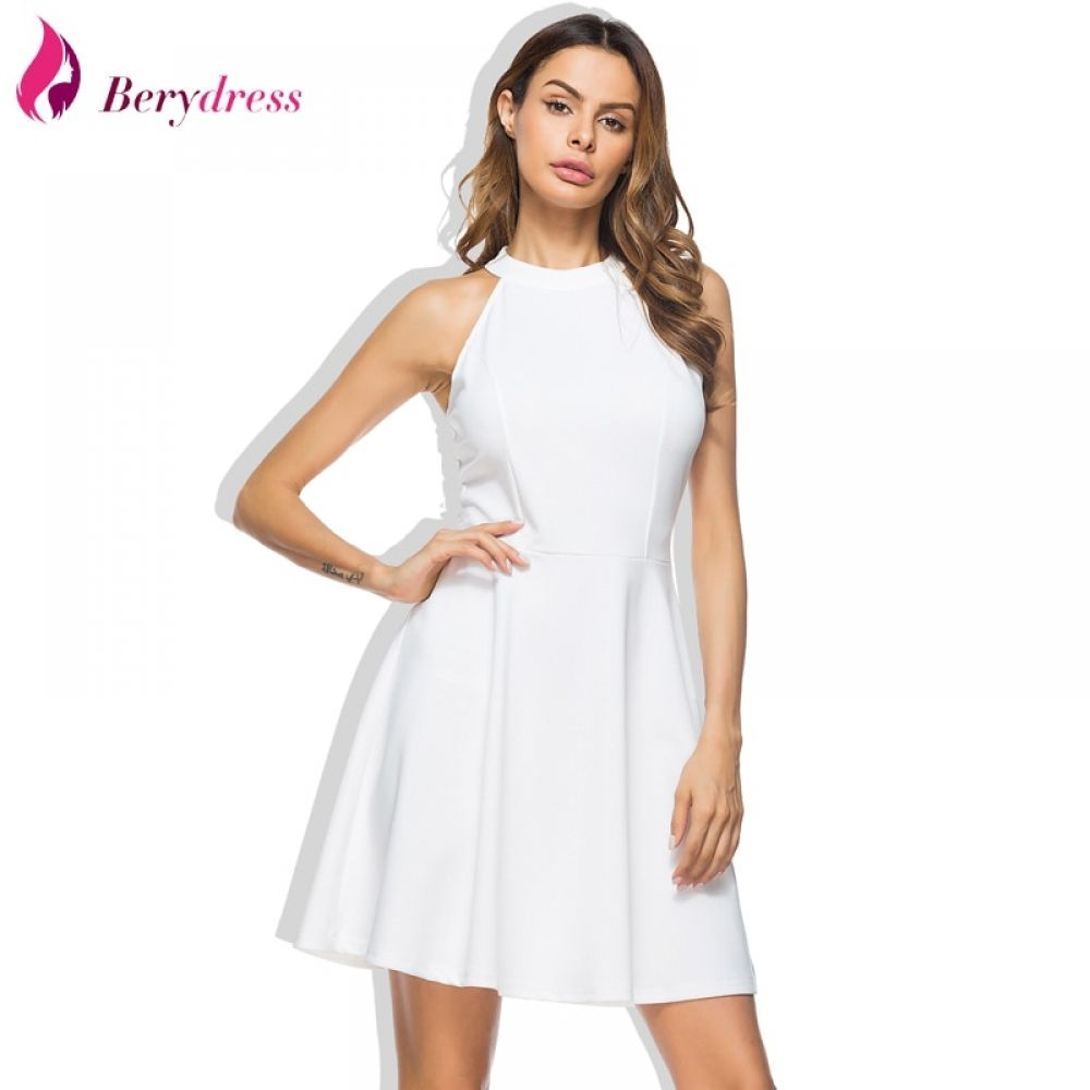 e64b5fd48c21 Cute Women Wedding Party Dress Sexy Halter Neck Lace Straps Backless  Sleeveless Casual Short Skater Dresses