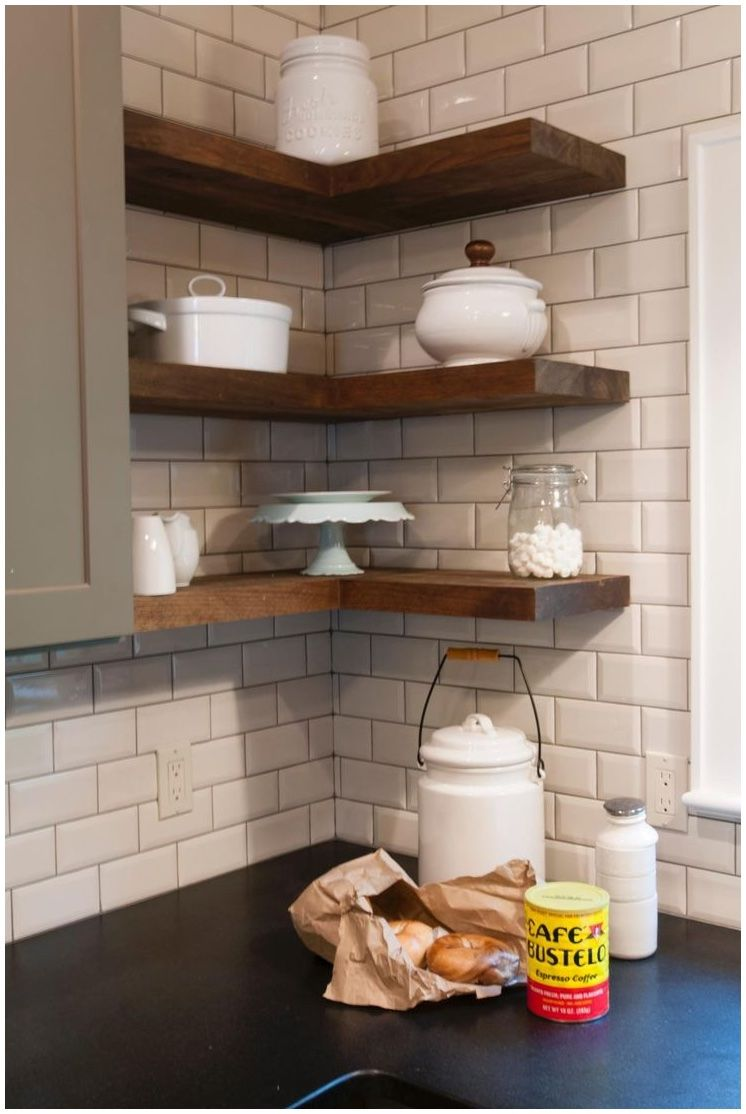 Image Result For Ikea Kitchen Counter Corner Diy Floating Shelves Kitchen Floating Shelves Kitchen Kitchen Remodel Small