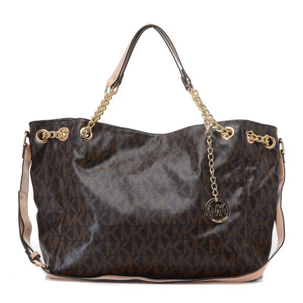 Michael Kors Jet Set Chain MK Logo Shoulder Tote Brown Products Description  * Brown logo PVC with tan leather straps. * Golden hardware. * Top han\u2026