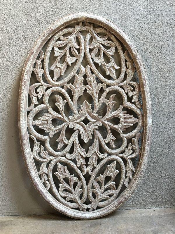 Stoer landelijk oud houten wandpaneel ovaal wandornament ...