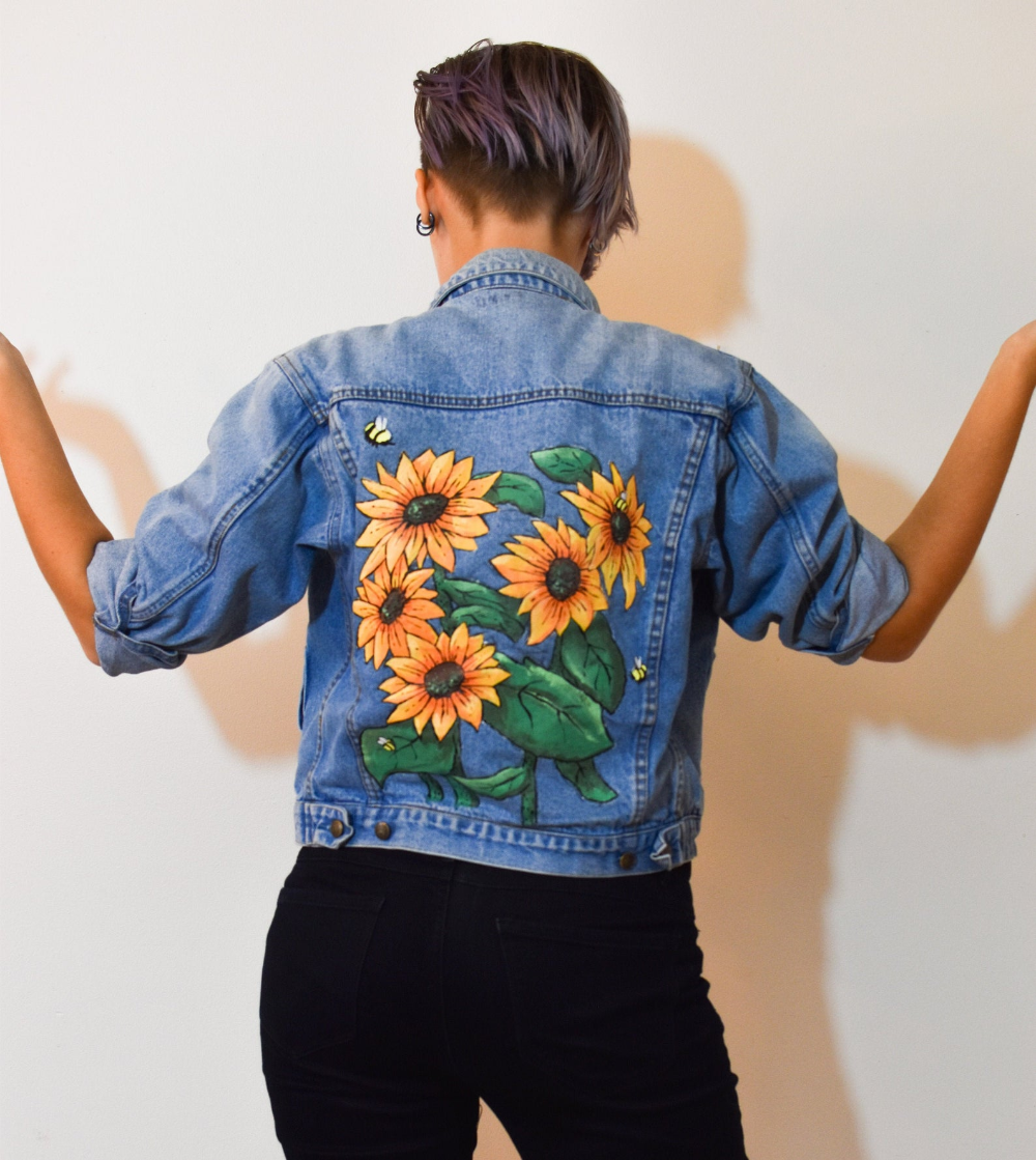 Hand Painted Sunflower Cropped Women S Denim Jacket Denim Jacket Women Hand Painted Denim Jacket Painted Clothes Diy [ 1119 x 1000 Pixel ]