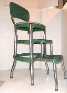 Vintage Green Cosco Step Stool Chair 1950u0027S Vinyl Chrome MID Century .