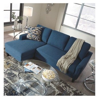 Jarreau Sofa Chaise Sleeper Blue Signature Design By Ashley Sectional Sofas Living Room Sofa
