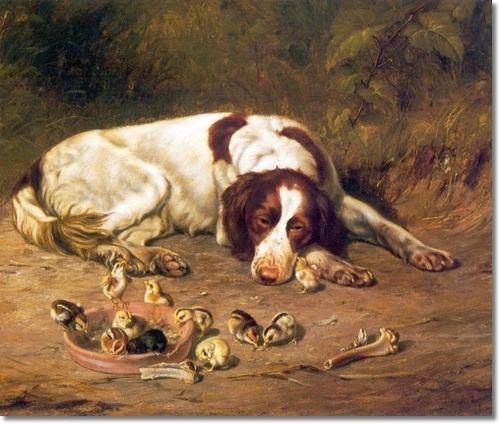 Arthur Fitzwilliam Tait - Farm Animals - Good Doggy - English Setter and Chickens - 1883 Archival Fine Art Paper Print
