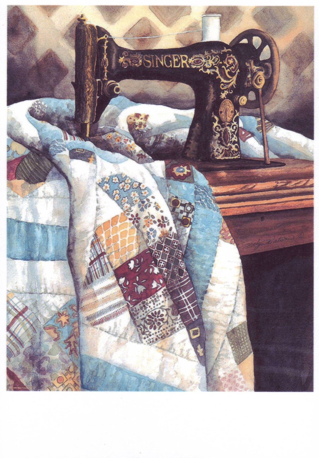 Sew Art Sewing Machine Patchwork Quilt Blanket Hand Made Needle