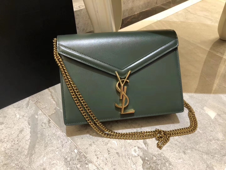 Saint Laurent Cassandra Chain Envelope Flap Bag in Green Leather in ... 5a8de54a61cca