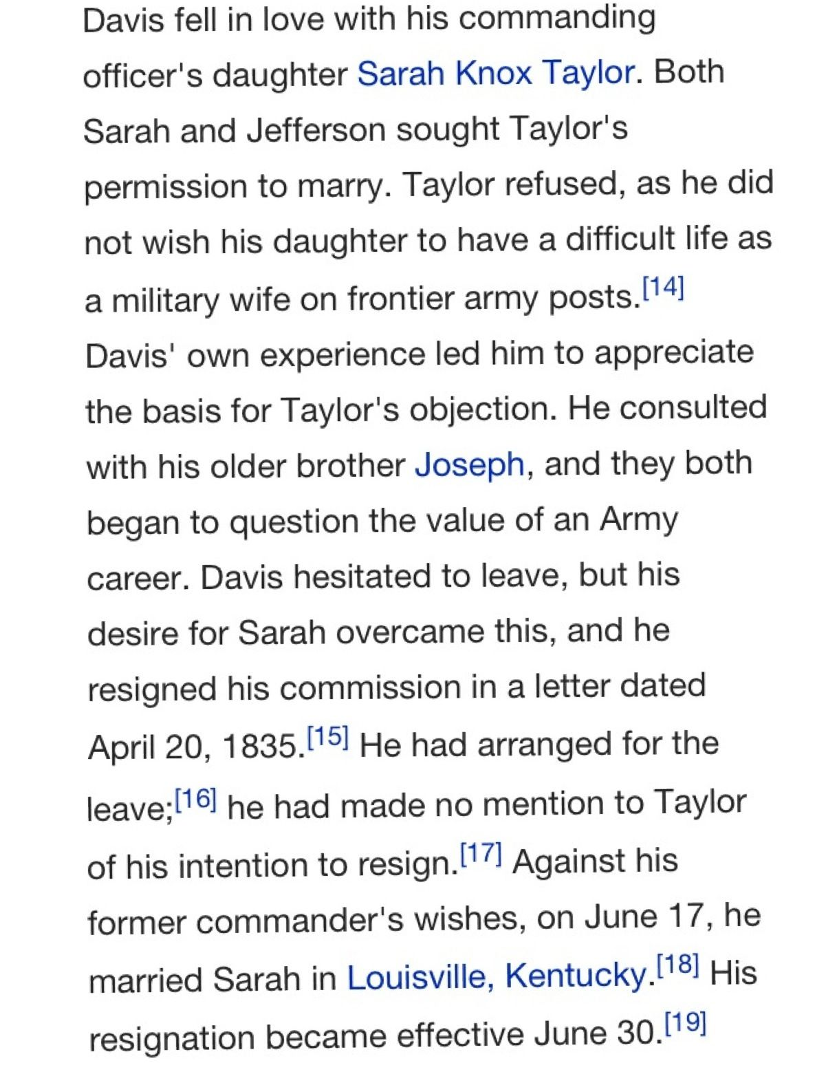 Marriage to Sarah Knox Taylor Davis Army post, Jefferson
