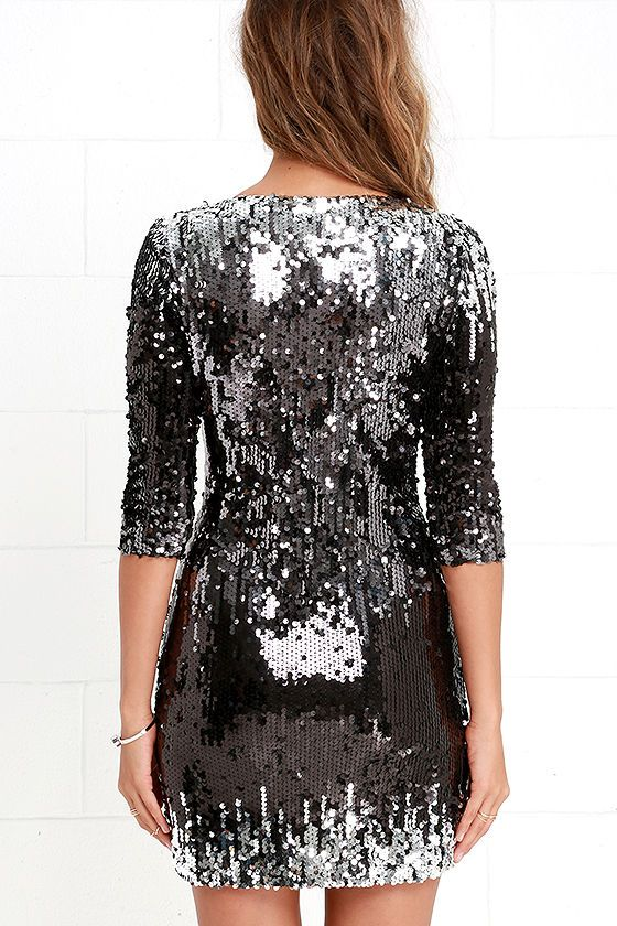 Silver black sequin dress