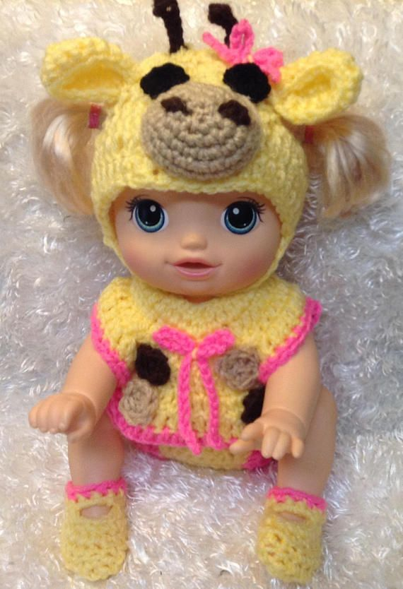 14 Inch Doll Clothes Giraffe Set Fits Baby Alive Go Bye Bye Doll Crochet Doll Clothes Og Dolls Dolls