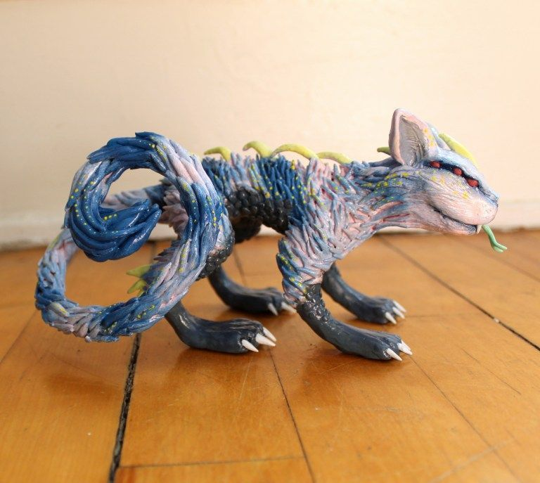 Polymer clay alien cat monster awesome surreal creature star climber