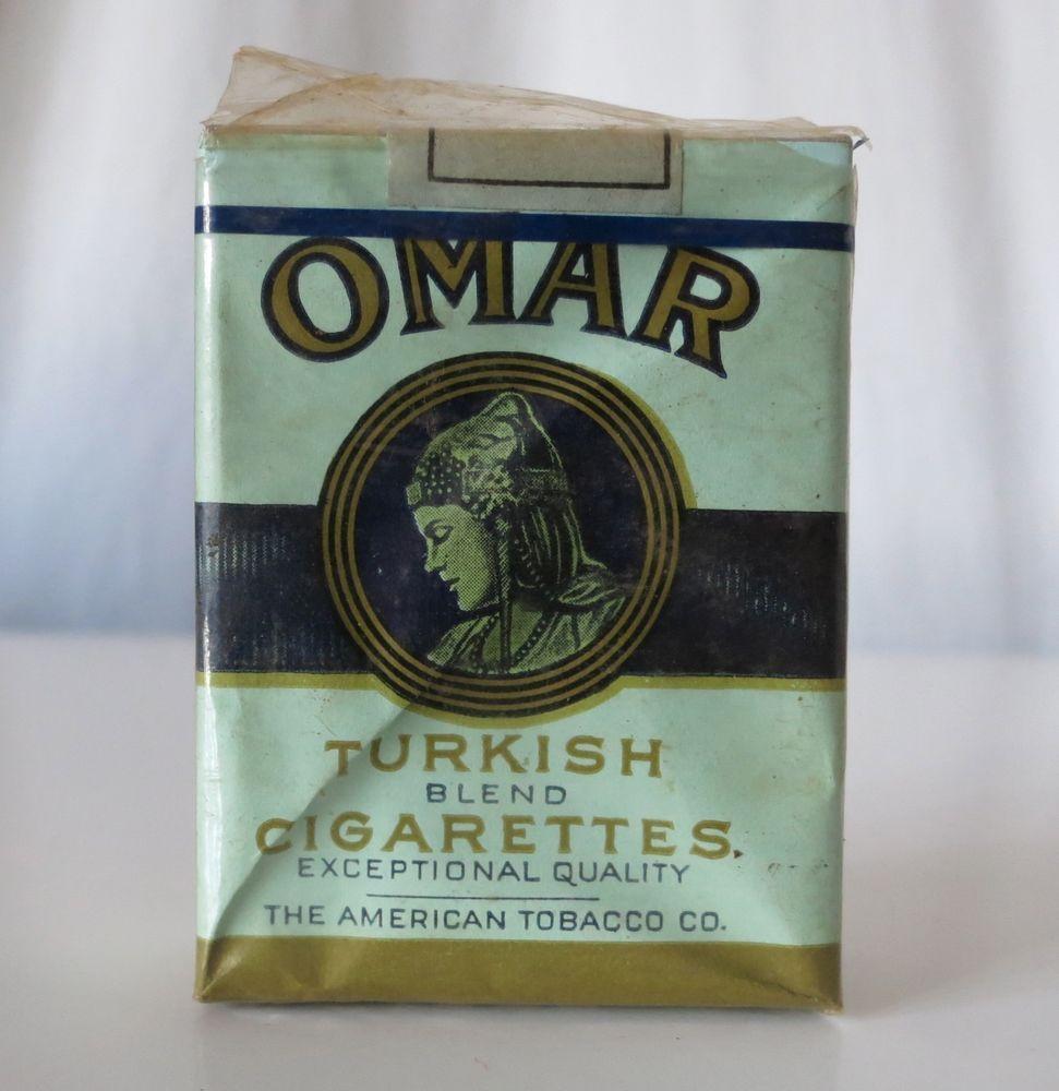 Omar Turkish Cigarettes Vintage Tobacco Pack, The American Tobacco Co  #threekings