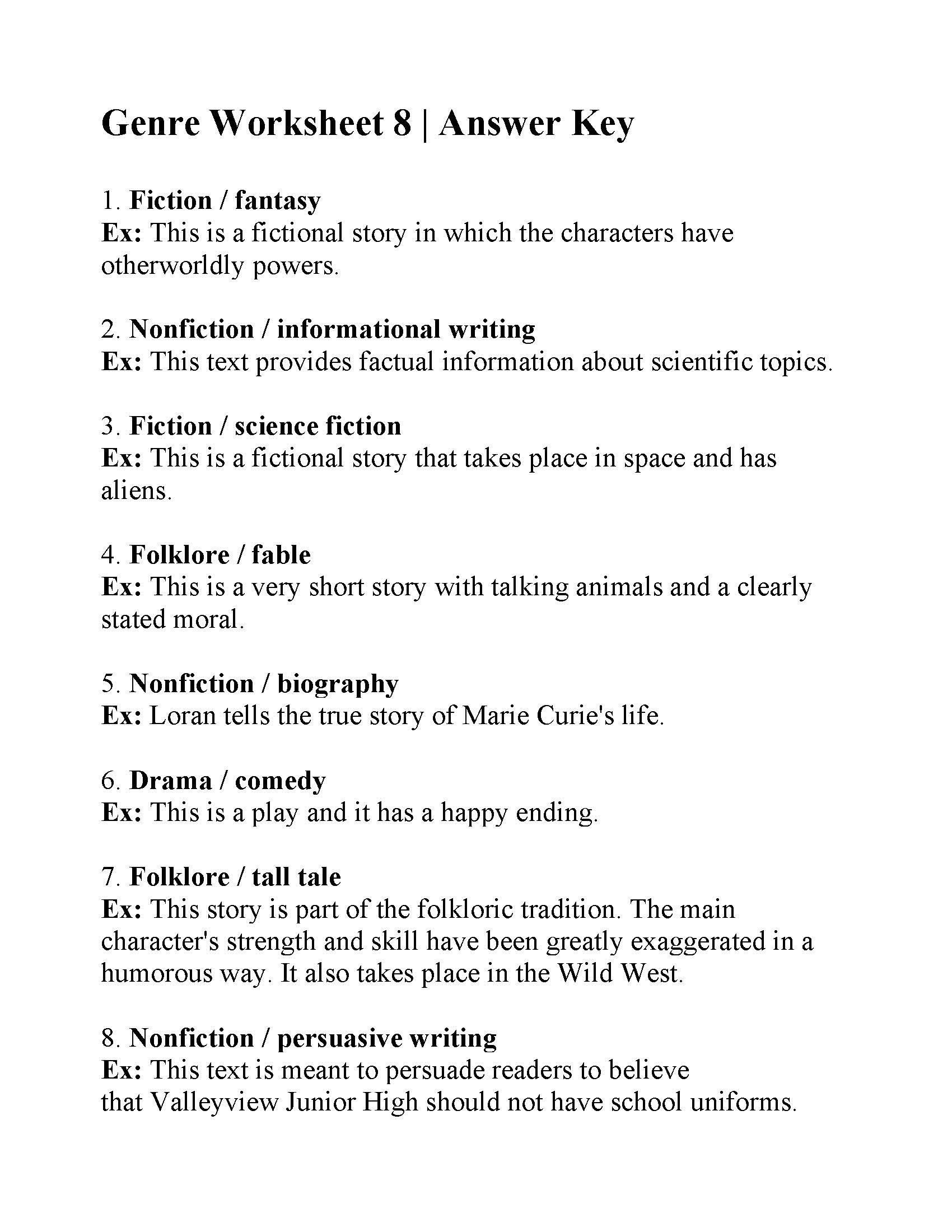 Genre Worksheet 3rd Grade Genre And Subgenre Worksheet 6