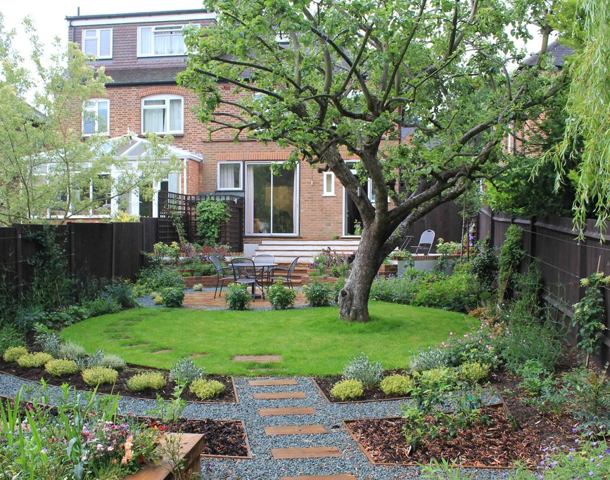 Circular lawn in rectangular garden | Backyard landscaping ... on Landscaping Ideas For Rectangular Backyard  id=71558