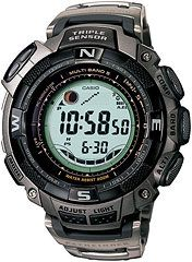 The Casio PAW1500T-7V from the pathfinder collection, this watch features compass, thermometer, altimeter functions, all in a solar powered atomic watch.
