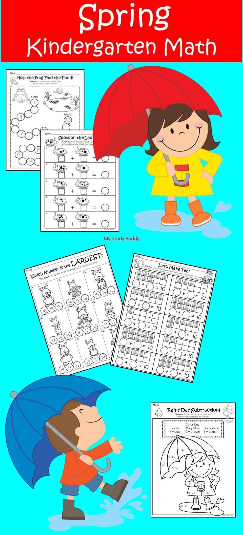 Spring Math Worksheets (Kindergarten, Spring Activities) | My Study ...