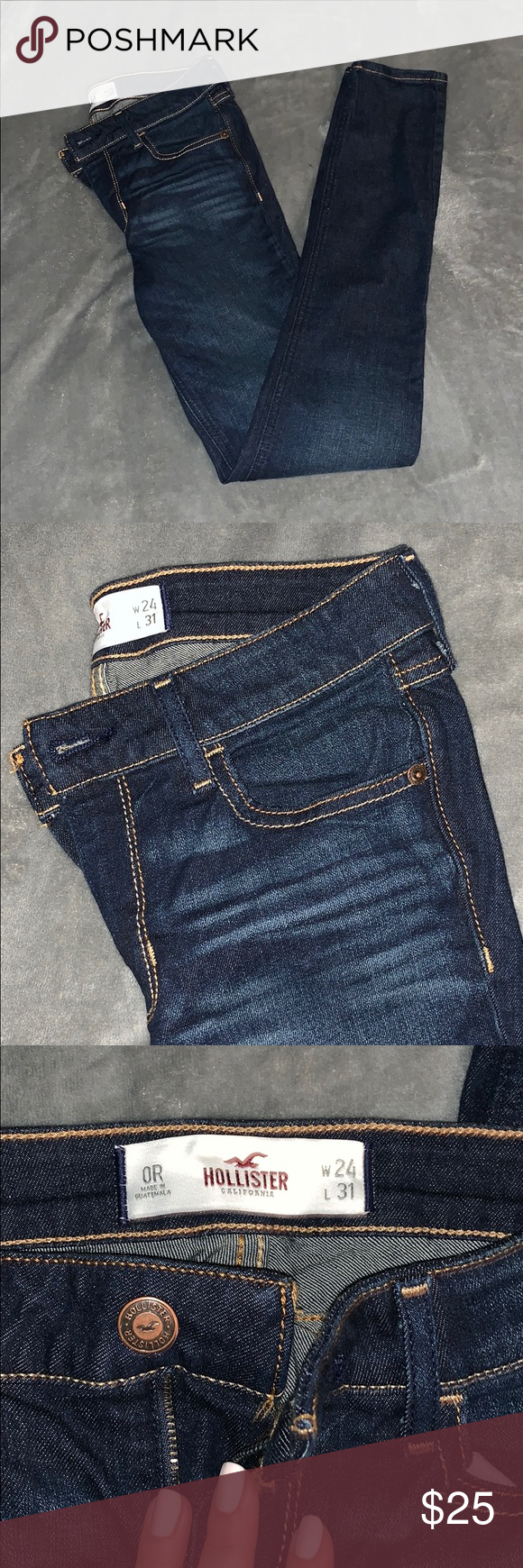 f6964c37742 Hollister Dark Wash Skinny Jeans Blue Denim NWOT Never worn, ripped the  tags off but they're too long. Size 0R (regular). Hollister Jeans Skinny