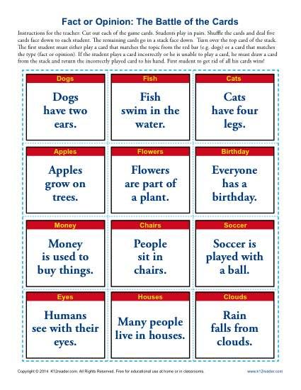 Fact Opinion Worksheet   Fact and opinion, Worksheets and Reading ...