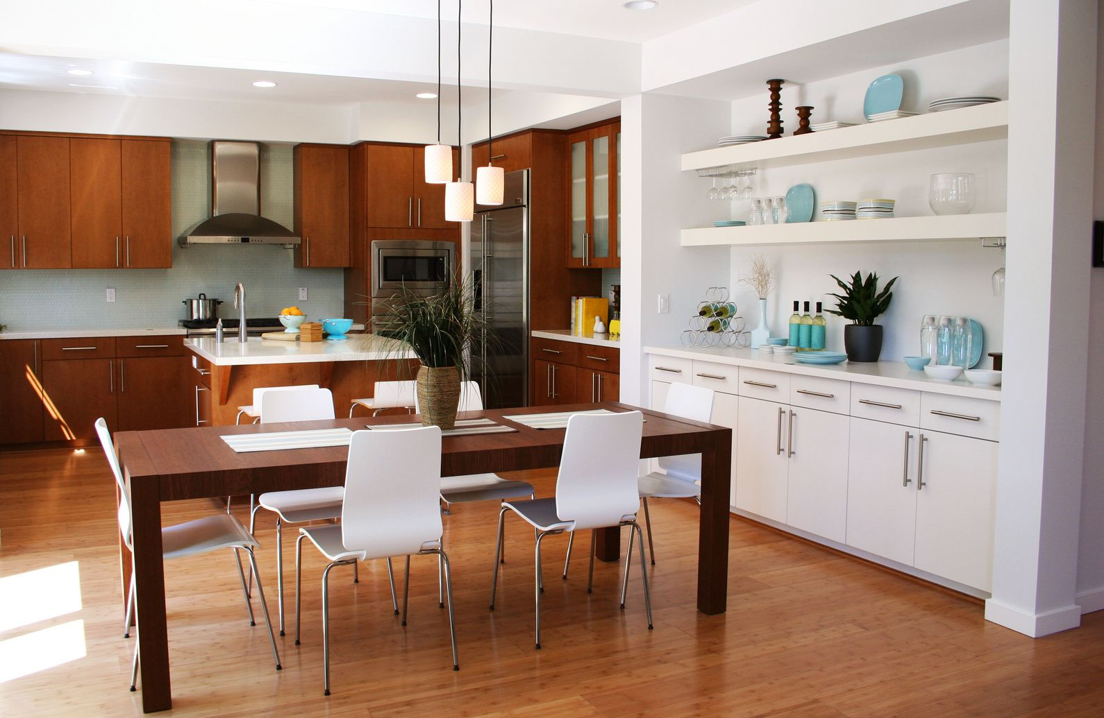 Furniture Modern Kitchen Wooden Floor Dining Area Design  For The Stunning Dining Room And Kitchen Designs 2018