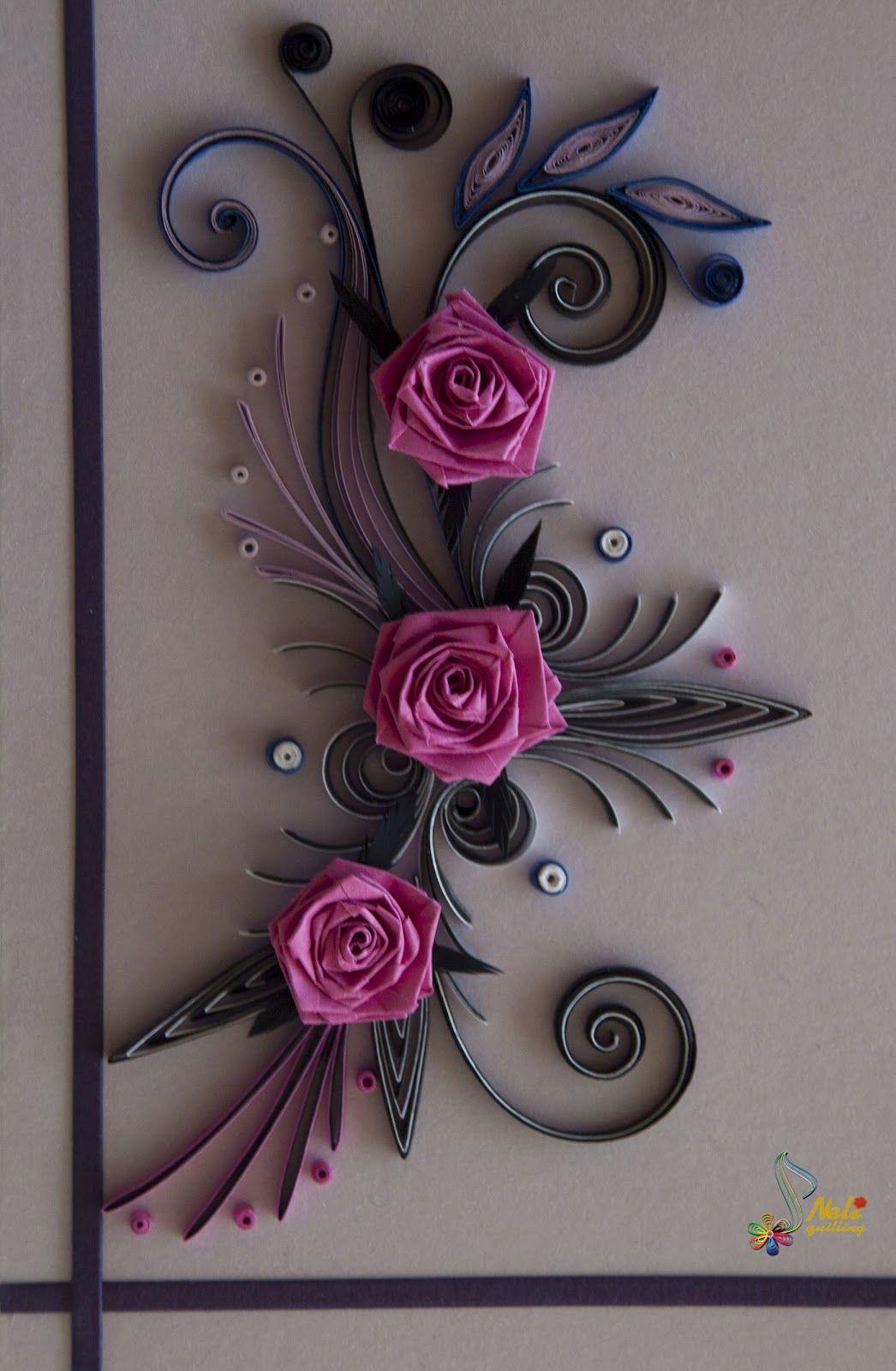 Neli quilling art quilling card purple flowers - Neli Quilling Art Quilling Cards Roses Things I Want
