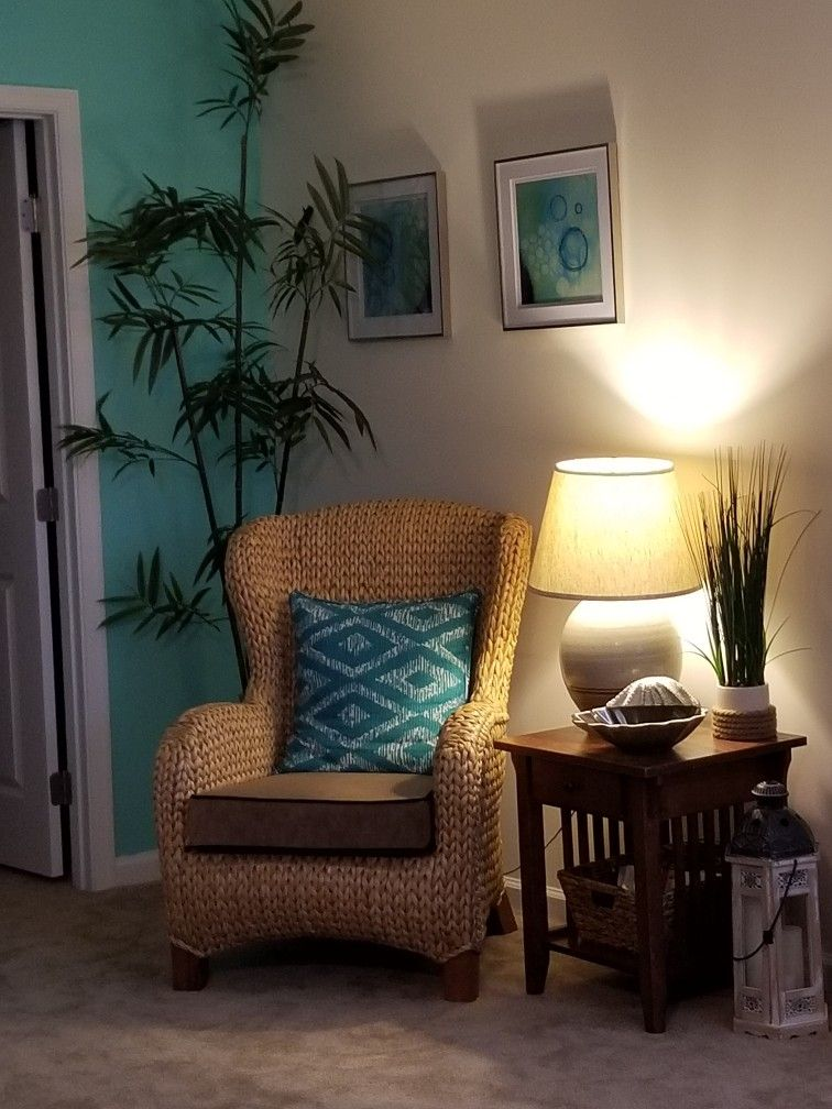 Seagrass Pottery Barn Wing Back Chair Chair, Rattan
