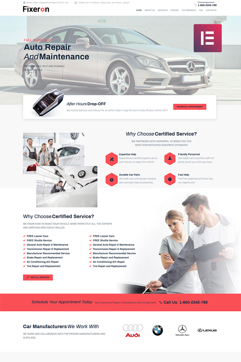 Fixeron Car Repair Elementor Wordpress Theme 71842 Auto