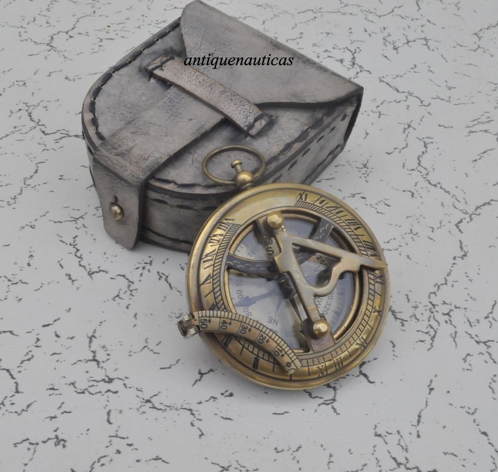 Antique Brass Compass With Leather Case Vintage Handmade Nautical  Gift