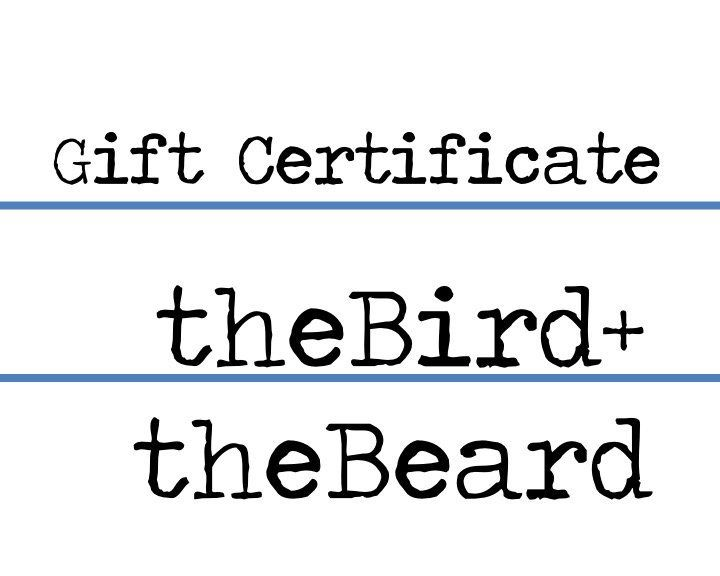 Gift Certificate / eGift Card to spend at theBirdandtheBeard / Digital Download Printable Gift Certificate / Gift for Newly Engaged